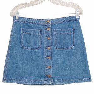 Zara TRF Denim Mod Button Up Jean Mini Skirt M